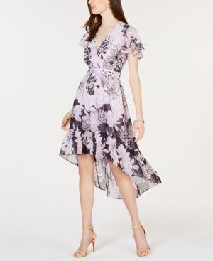 Women's Vince Camuto Print Flutter Midi Dress, Size 6 - Purple