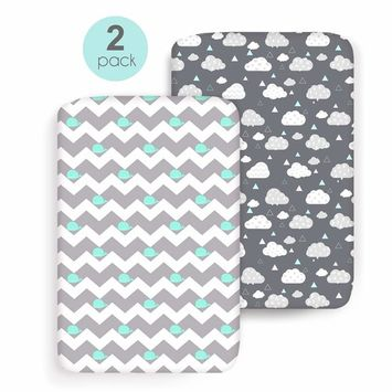COSMOPLUS Stretch Fitted Pack n Play Playard Sheets - 2 Pack for Mini Crib Sheet Set,Pack n Play Mattress Cover, Ultra Stretchy Soft,Whale/Cloud [Playard Sheet]