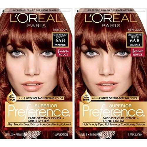 L'Oreal Paris Superior Preference Permanent Hair Color, 6ab Chic Auburn Brown, 2 Count