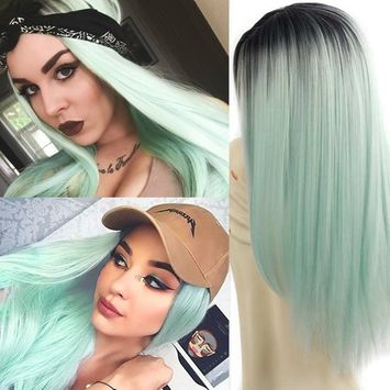26'' Cosplay Wig Long Straight Hair Heat Resistant Fiber Party Wigs Green Black Roots None Front Lace Full Wigs(Green)