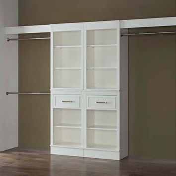 French Heritage 120-Inch Double Closet Organizer in Parisian White