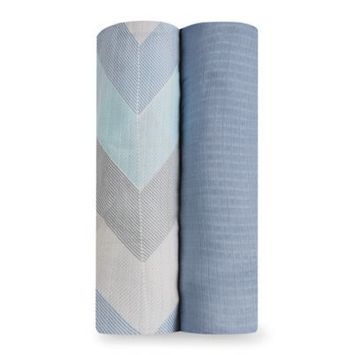 aden® by aden + anais® Chevron 2-Pack Silky Soft Swaddles in Blue