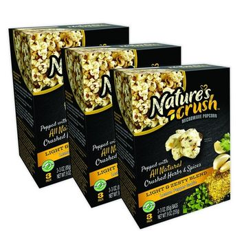 Nature's Crush Natural Microwave Popcorn, Light & Zesty Blend - Lemon Pepper Garlic, Gourmet Crushed Herbs and Spices (3 boxes)