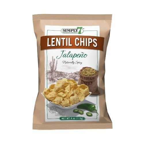 Simply7 Lentil Chips, Jalapeno, 4 Ounce (Pack of 12)