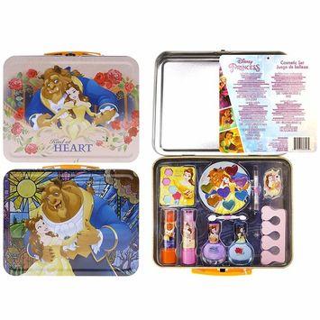 Disney Lunch Box Tin Beauty Set Includes: Nail Polish, Lip Balm, Eye Shadow, Lip Gloss, Toe Spacer, Applicator, Nail File and a Brush