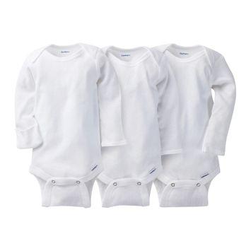 Gerber Onesies Newborn 3 Pack Long-Sleeve Onesies - White 0-3 M, Newborn Unisex