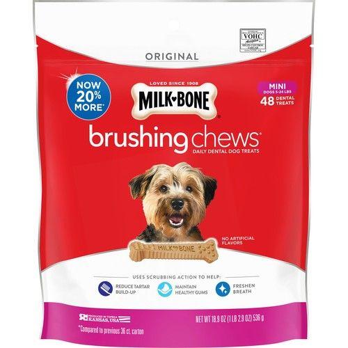 Milk-Bone Brushing Chews Daily Dental Dog Treats, Mini, 18.9 Oz. 48 Bones per Bag [name: size value: size-18.9oz]