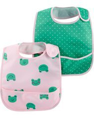 Carter's 2-Pack Hearts & Frogs Water Resistant Bibs