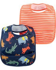 Carter's 2-Pack Stripes & Zoo Animals Water Resistant Bibs