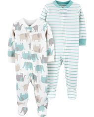 Carter's 2-Pack Zip-Up Cotton Sleep & Plays, Baby Girl, Blue/Ivory