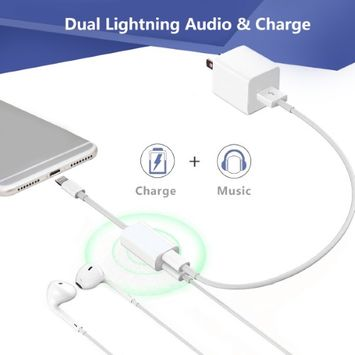 Besmall iPhone 7 Adapter & Splitter, Double Lightning Headphone Audio & Charge for iPhone 7 / 7 Plus and Sync Data Compatible for iOS 10.