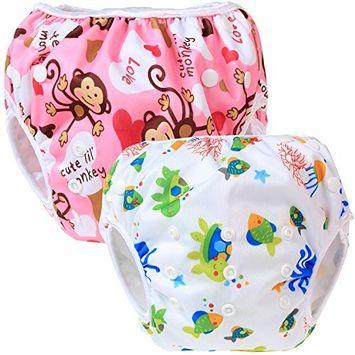 Teamoy Baby Swim Diaper(2 Pack) Newborn Cloth Diaper Cover(Monkeys Pink+ Sea World)