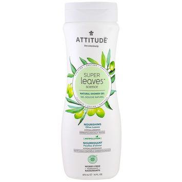 ATTITUDE, Super Leaves Science, Natural Shower Gel, Nourishing, Olive Leaves, 16 oz (473 ml) [Scent : Olive Leaves]