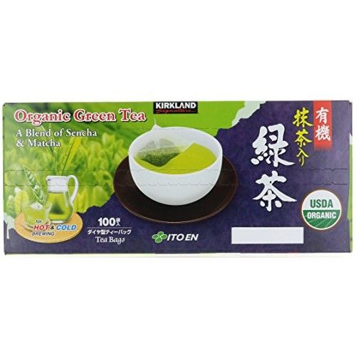 Kirkland Signature Organic Japanese Green Tea, A Blend of Sencha & Matcha 100 bags 0.05 Oz/1.5g per bag by [Organic]