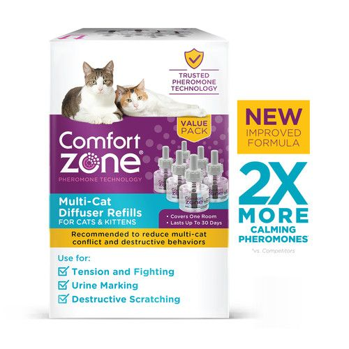 Comfort Zone MultiCat Calming Diffuser Refill Only, New 2X Pheromones for Cats Formula 6 Pack