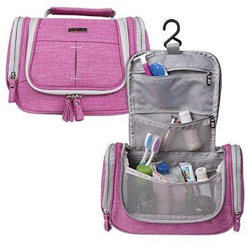 BUBM Hanging Toiletry Bag - Travel Kit Organizer Bag for Women Makeup & Men Grooming, Rose Red