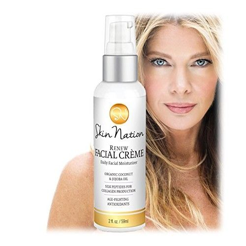 Renew Face Cream Daily Moisturizer | Anti Aging Cream for Face, Anti Wrinkle, Collagen Peptides | with Organic Natural Ingredients, Aloe Vera, Coconut Oil, Vitamin E | Skin Nation by Michelle Stafford