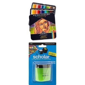 Prismacolor Premier Soft Core Colored Pencil Set of 48 Assorted Colors with Scholar Pencil Sharpener