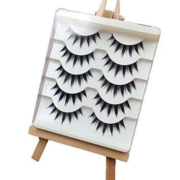 Okdeals 5 Pairs/set Fashion Women Japanese Style Makeup False Eyelashes Long Thick Eye Lash Extension Beauty Tools