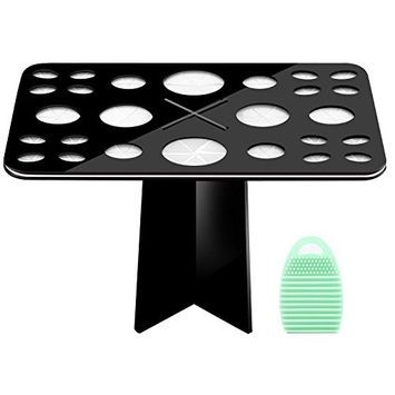 Luxspire Makeup Brush Cleaner Brushegg Cleaning Mat Cosmetic Scrubber Mat and 26-Holes Drying Tower Holder Brush Drying Rack Set Kit Air Drying Organizer Acrylic Brush Cosmetic Shelf Tools