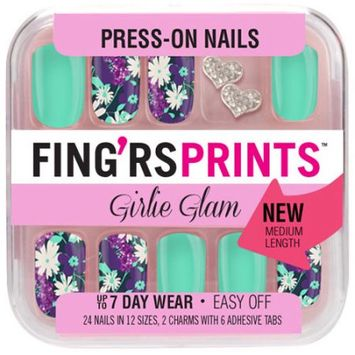 Pacific World Corporation Fing'rs Prints Girlie Glam Press-on Nails, Pin-tress, 30 pc