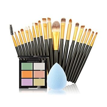 Makeup Kit, Doinshop 6 Colors Concealer +20 Makeup Brush + Water Puff Powder Puff