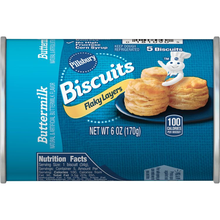 Pillsbury Flaky Layers Buttermilk Biscuits, 5 Ct, 6 oz