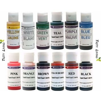 Tasty Living Set of LorAnn Extra Strength Liquid Food Coloring Decorating Baking kit - 12 Color Variety Kit in 1 fl. oz. (29.5ml) Easy-to-use squeeze Bottles.