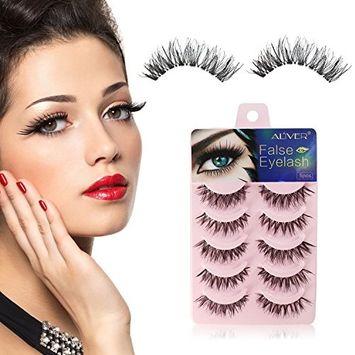 5 Pairs Long Cross False Eyelashes Reusable Charming Natural 3D Fake Thick Black Eye Lashes Soft Fake Lash