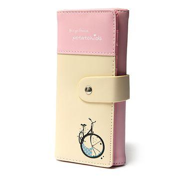 Women Lady Girls Long Clutch PU Leather Wallet Purse Checkbook Coin Lungo Wallet Bag Card Handbag