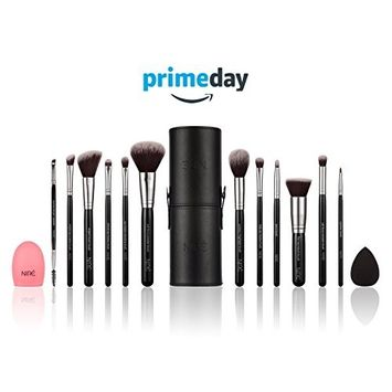 Niré Beauty Makeup Brushes. Make up brushes Set with Beauty Blender, Makeup Brush Holder and Brush Cleaner: The ESSENTIAL makeup brush set for your PERFECT makeup look (Silver)