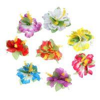 Frcolor Flower Hair Clip, Hibiscus Luau Hulahair Hawaiian Lei Flower Hair Accessories for Girls Women Beach Wedding Party Supplies (8Pcs)