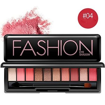 Hunputa 10 Colors Eyeshadow Palette - Free Double Heads Eyeshadow Brush - Highly Pigmented Eye Palette for Natural and Smokey Eye Makeup