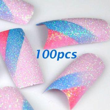 100 Glitter Colourful False Acrylic Nail Tips NEW by 350Buy