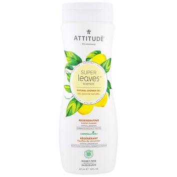 ATTITUDE, Super Leaves Science, Natural Shower Gel, Regenerating, Lemon Leaves, 16 oz (473 ml) [Scent : Lemon Leaves]