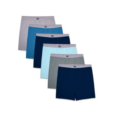 Fruit of the Loom Men's Assorted Knit Boxers, 6 Pack