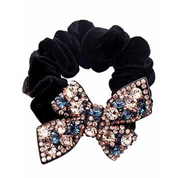 Fancyin Luxury Crystal bowknot rhinestones Elastic hair band ties
