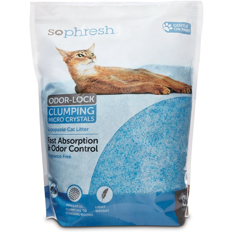 So Phresh Scoopable Odor-Lock Clumping Micro Crystal Cat Litter in Blue Silica, 8 LB