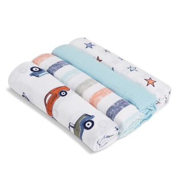 aden® by aden + anais® Hit the Road 4-Pack Cotton Muslin Swaddles in Blue