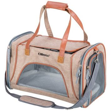 Ollieroo Oilleroo Pets Travel Carrier Airline Cat Carrier Soft-Sided 3 Door Folding Travel Carrier with Pet Mats for Small Dogs and Cats