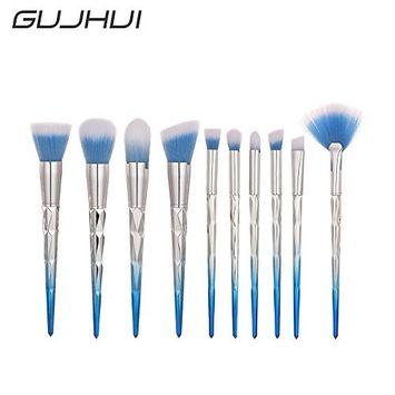 RNTOP 10Pcs Makeup Horn Handle Brushes Powder Cosmetic Brush Set