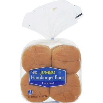 Great Value Jumbo Hamburger Buns, 18 oz, 8 count