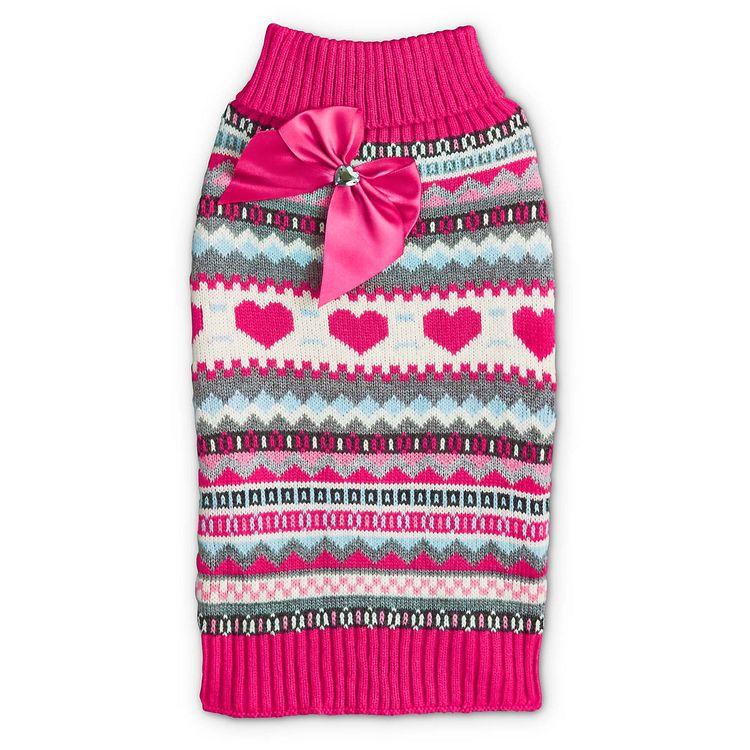 Bond & Co. Fuchsia Faire Isle Dog Sweater with Bow, X-Small, Purple