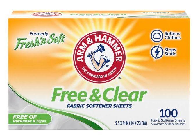 Arm & Hammer™ Fresh 'n Soft Fabric Softener Sheets, Free - 100 Ct