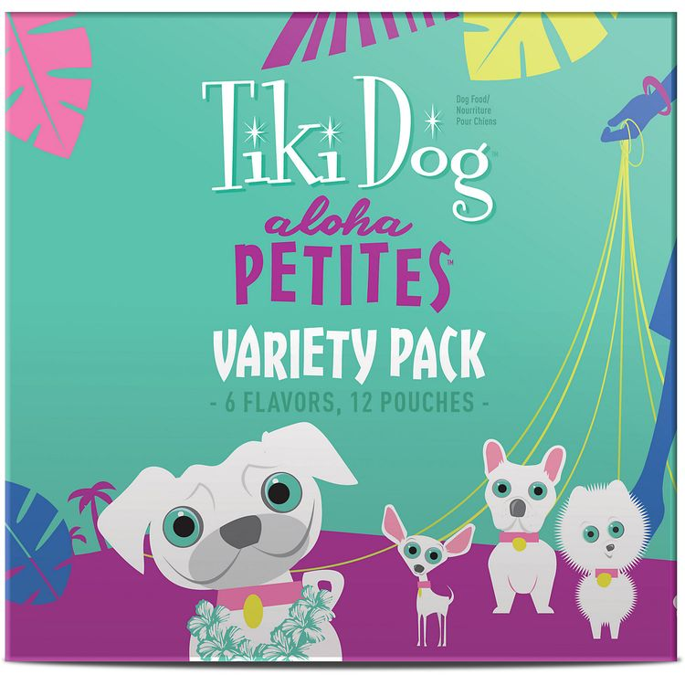 Tiki Dog Aloha Petites Variety Pack Wet Dog Food Pouches, 3.5 oz, Case of 12