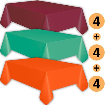 12 Plastic Tablecloths - Burgundy, Teal, Orange - Premium Thickness Disposable Table Cover, 108 x 54 Inch, 4 Each Color