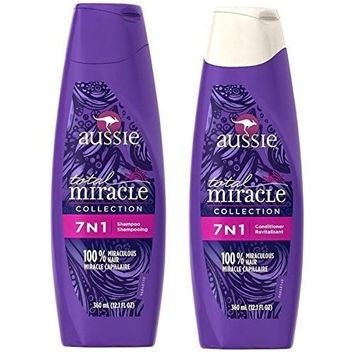 Aussie Total Miracle Collection 7n1 Shampoo and Conditioner Set, 12.1 Fluid Ounce Each (2 Pack)