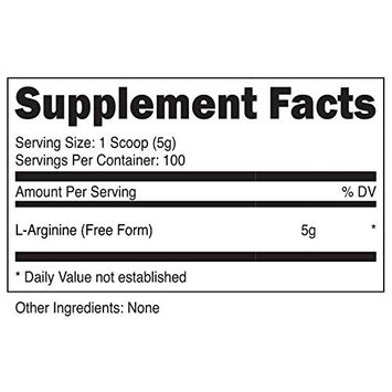 Nutricost L-Arginine Powder 500 Grams (1.1lbs) - Pure L-Arginine Powder - 5000mg Per Serving; 100 Servings