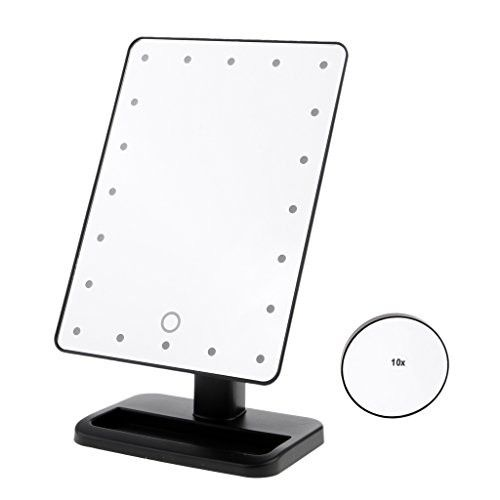 SunniMix Natural Daylight Lighted Makeup Mirror/Vanity Mirror with Touch Screen Dimming, Detachable 10X Magnification Spot Mirror, Portable and High Definition Clarity Cosmetic Mirror - Black