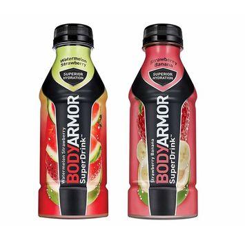 BodyArmor SuperDrink, Electrolyte Sport Drink, Watermelon Strawberry & Strawberry Banana 16 Oz (Pack of 24)